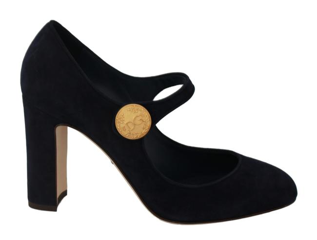 Dolce&Gabbana Dark Blue Suede Dg Mary Jane Heels Dolce & Gabbana Pumps Size US 8.5 Regular (M, B) Dolce&Gabbana Dark Blue Suede Dg Mary Jane Heels Dolce & Gabbana Pumps Size US 8.5 Regular (M, B) Image 1