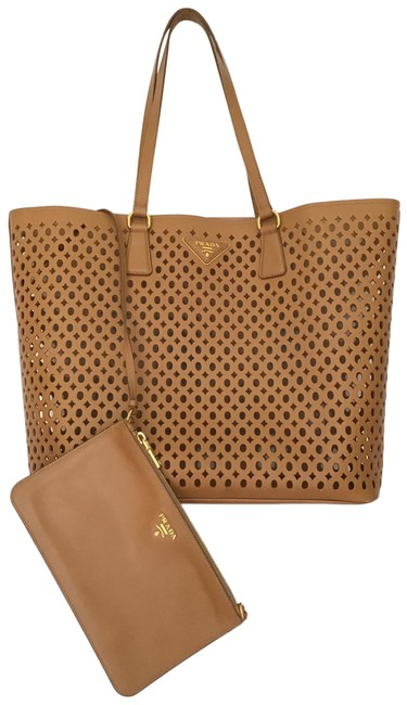 Prada Fori Perforated Caramel Saffiano Leather Tote Prada Fori Perforated Caramel Saffiano Leather Tote Image 1