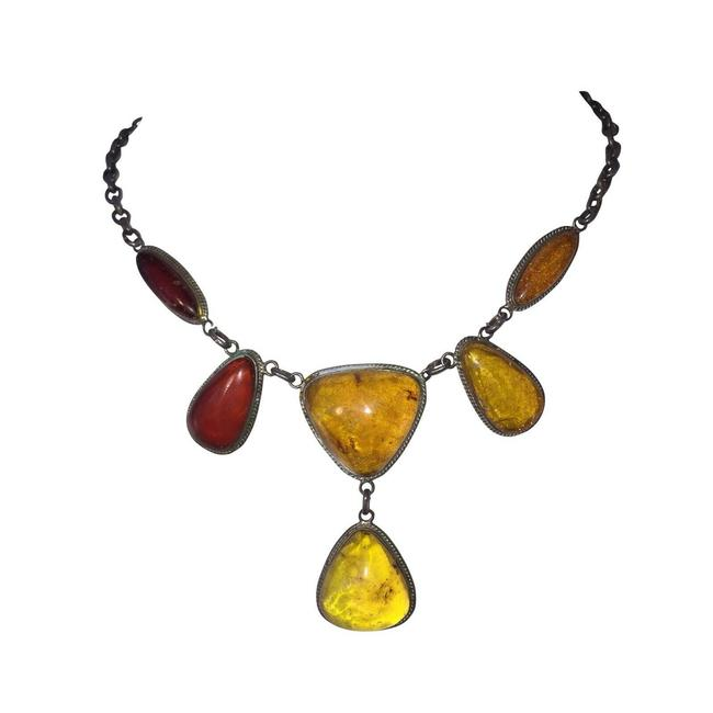 Unbranded Silver Russian Baltic and Cherry Amber Cabochon Necklace Unbranded Silver Russian Baltic and Cherry Amber Cabochon Necklace Image 1