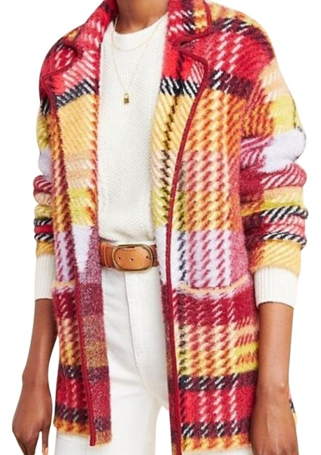 Item - Red Yellow Oracia Plaid Sweater Coat Size 8 (M)