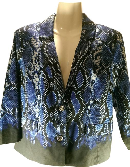 Preload https://img-static.tradesy.com/item/27511070/michael-kors-blue-wblack-and-white-accents-snake-print-woman-s-office-casual-blazer-size-10-m-0-1-650-650.jpg