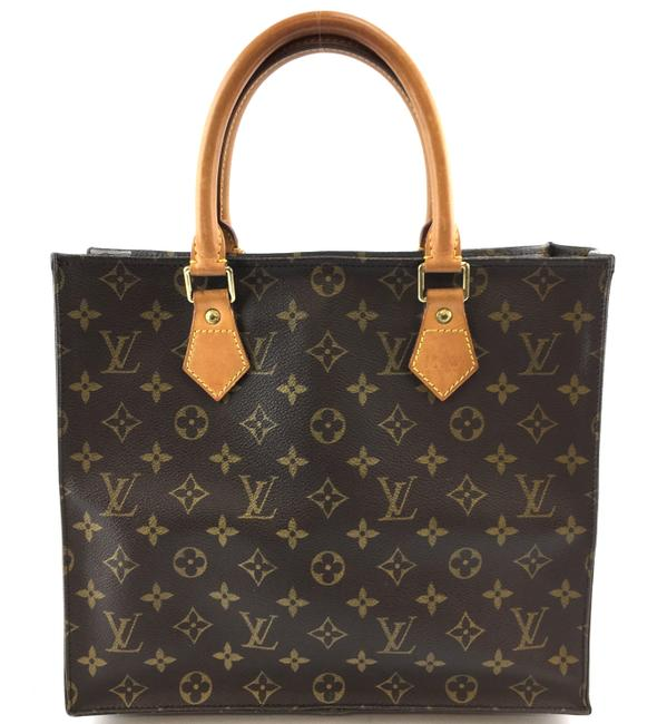 Louis Vuitton Sac Plat Bag #37365 Special Order Mini Hand Brown Monogram Canvas Tote Louis Vuitton Sac Plat Bag #37365 Special Order Mini Hand Brown Monogram Canvas Tote Image 1