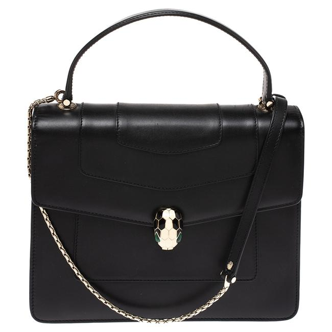 BVLGARI Flap Bag Serpenti Forever Black Leather Clutch BVLGARI Flap Bag Serpenti Forever Black Leather Clutch Image 1