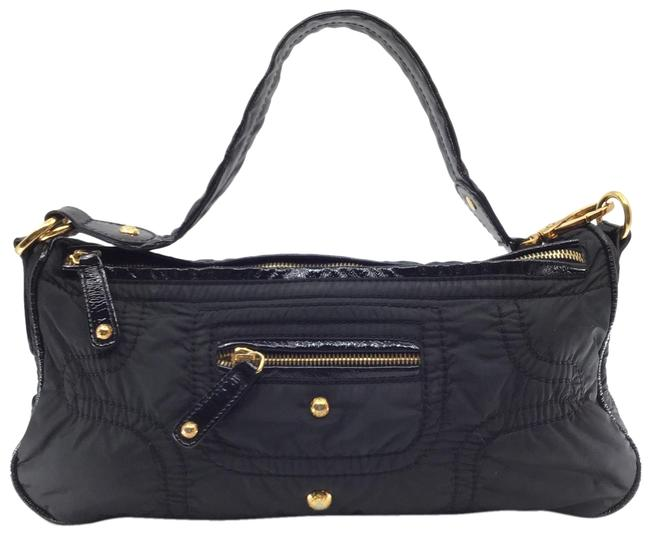 Tod's Quilted with Leather Trim Black Nylon Baguette Tod's Quilted with Leather Trim Black Nylon Baguette Image 1