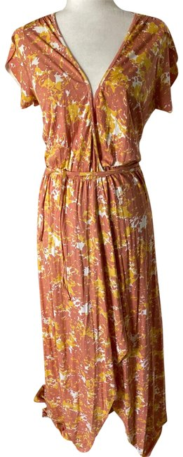 Item - Cream Yellow Orange Wrap Floral Long Casual Maxi Dress Size 8 (M)