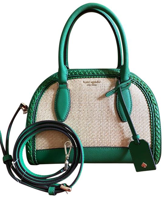 Kate Spade Medium Dome Green and Straw Satchel Kate Spade Medium Dome Green and Straw Satchel Image 1