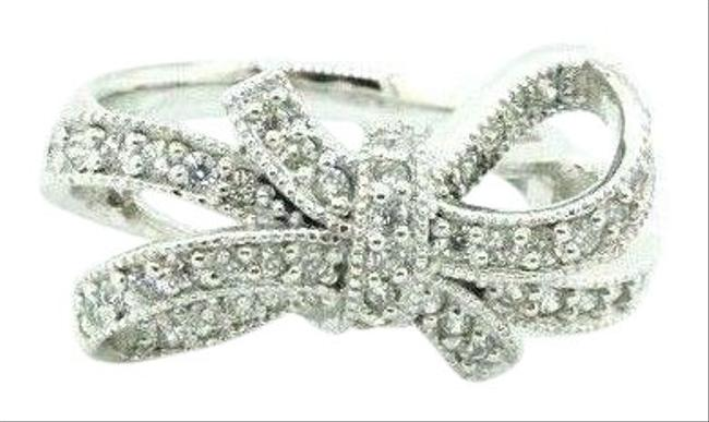 Women's 925 Silver Sparkling Bow Cluster Band Knot Cz 4.25 #20740 Ring Women's 925 Silver Sparkling Bow Cluster Band Knot Cz 4.25 #20740 Ring Image 1