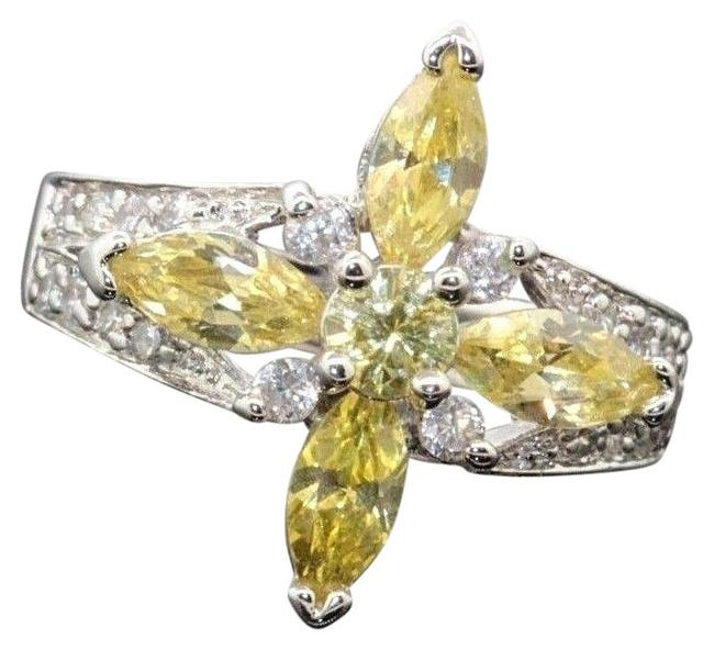 Sterling Silver Sparkling Large Yellow White Cz Stone Rp Cz #20107 Ring Sterling Silver Sparkling Large Yellow White Cz Stone Rp Cz #20107 Ring Image 1