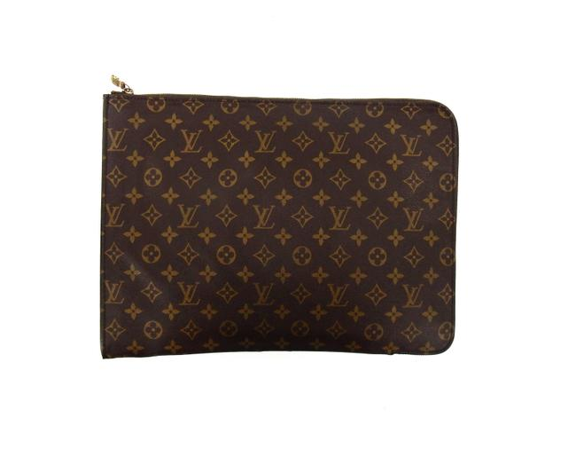 Louis Vuitton Portfolio Posh Documan Brown Monogram Canvas Leather Clutch Louis Vuitton Portfolio Posh Documan Brown Monogram Canvas Leather Clutch Image 1