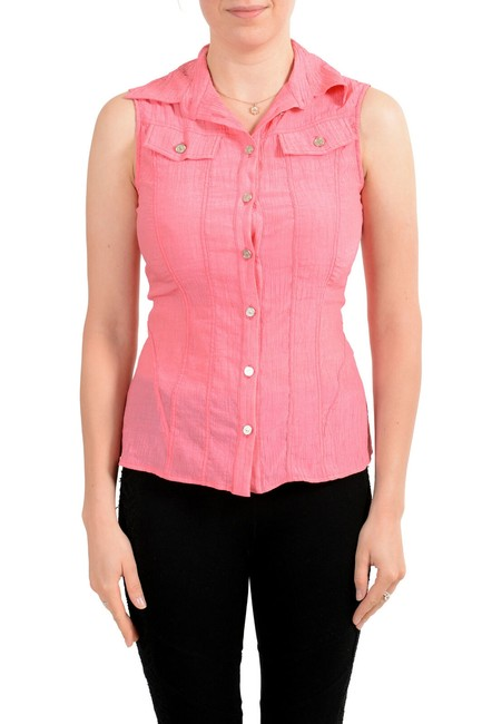 Preload https://img-static.tradesy.com/item/27511354/versace-jeans-collection-pink-couture-women-s-sleeveless-blouse-button-down-top-size-2-xs-0-0-650-650.jpg