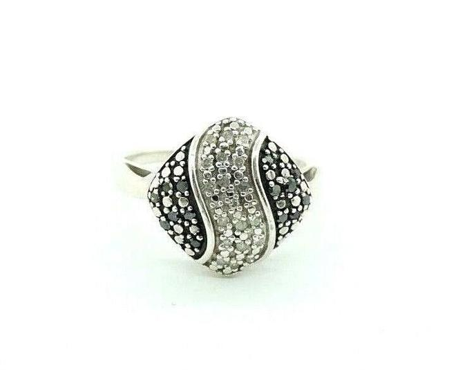 Women's Sterling Silver Black Diamond Cluster Pave Abstract Cocktail #20741 Ring Women's Sterling Silver Black Diamond Cluster Pave Abstract Cocktail #20741 Ring Image 1