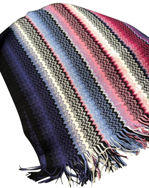 Missoni Blue Pink White Sa57wmd5013 Unica Scarf/Wrap Missoni Blue Pink White Sa57wmd5013 Unica Scarf/Wrap Image 1