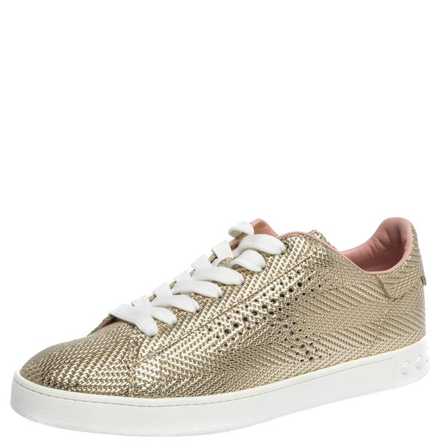 Tod's Metallic Gold Woven and Perforated Leather Low Top Lace Up Sneakers Size US 6.5 Regular (M, B) Tod's Metallic Gold Woven and Perforated Leather Low Top Lace Up Sneakers Size US 6.5 Regular (M, B) Image 1