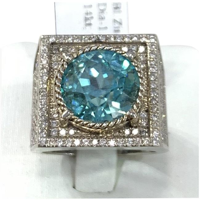 Blue Exquisite Angular with Natural Large Zircon and Diamonds Ring Blue Exquisite Angular with Natural Large Zircon and Diamonds Ring Image 1