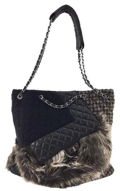 Chanel 2.55 Reissue Cabas Ultra Rare Karl's Fantasy Tote Fur Tweed Quilted Black and Dark Brown Leather Shoulder Bag Chanel 2.55 Reissue Cabas Ultra Rare Karl's Fantasy Tote Fur Tweed Quilted Black and Dark Brown Leather Shoulder Bag Image 1
