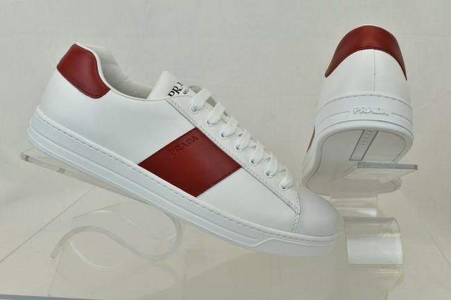 Prada White 4e3498 Red Leather Lace Up Logo Sneakers 9 / Us 10 Italy Shoes Prada White 4e3498 Red Leather Lace Up Logo Sneakers 9 / Us 10 Italy Shoes Image 1