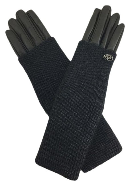 Chanel Black Cc Long Fold-over Gloves Size 7 Lambskin Leather Silk Kid Mohair Chanel Black Cc Long Fold-over Gloves Size 7 Lambskin Leather Silk Kid Mohair Image 1