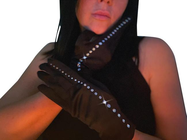 Item - Black Fancy Nylon Formal Women's Rhinestone Gloves Scarf/Wrap