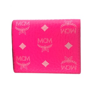 MCM NEW MCM Visetos Coated Canvas Two Fold Flat Wallet, Neon Pink