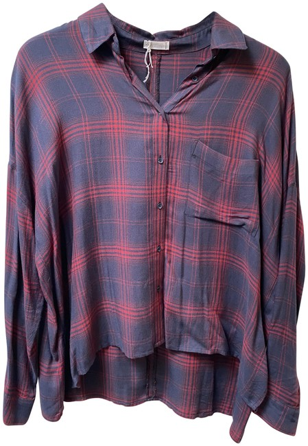 Item - Blue and Red Casual Plaid Button-down Top Size 8 (M)