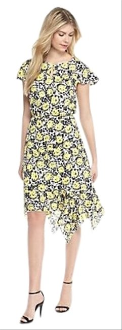 Item - White Black Yellow Butterfly Midi Mid-length Work/Office Dress Size 10 (M)
