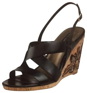 Bandolino Black Leather Wedges