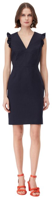 Item - Navy Tailored Stretch Modern Suiting Mid-length Work/Office Dress Size 12 (L)