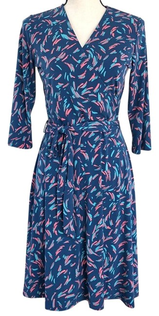 Item - Blue/Printed Perfect Wrap Belted Mid-length Short Casual Dress Size 8 (M)