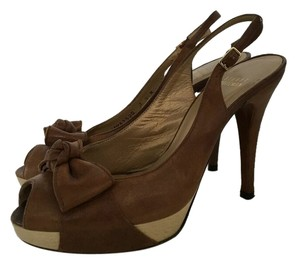Stuart Weitzman Peep Toe Bow Brown Pumps