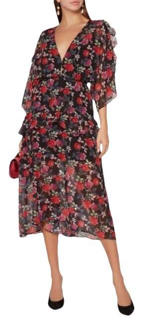 Item - Black Red Jet Rose Mid-length Cocktail Dress Size 12 (L)