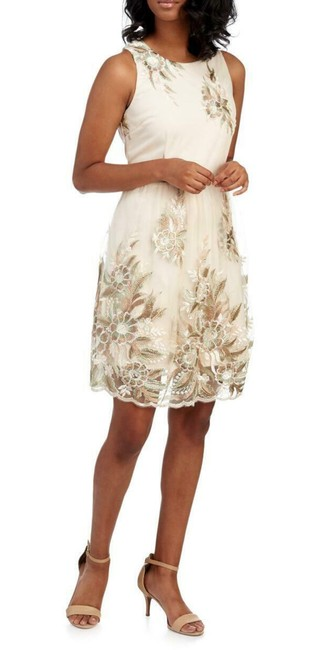 Item - Multi-color Ivory Floral-embroidery Chiffon Sleeveless Fit-n-flare Short Formal Dress Size 12 (L)