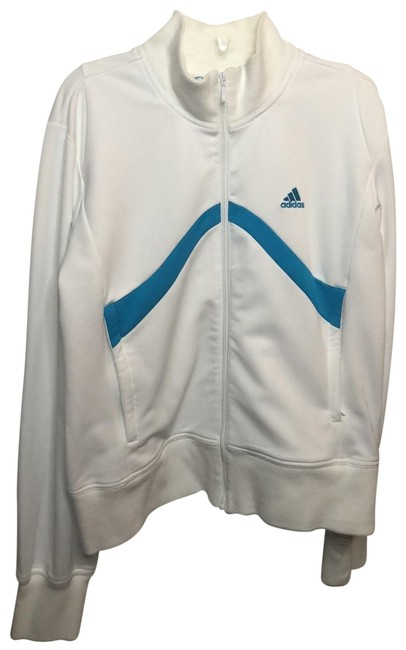 Item - White Blue Zip Up Track Activewear Outerwear Size 8 (M)