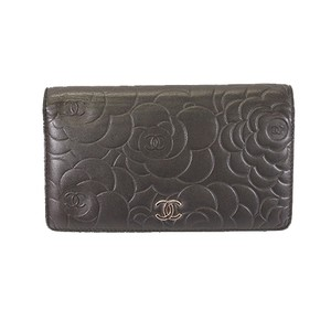 Chanel Chanel Camellia Camelia Women's Leather Long Wallet (bi-fold) Black