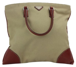 Prada Satchel in tan and Maroon