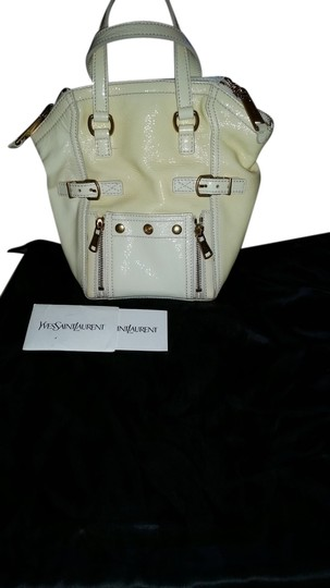 4f622b9a414 Saint Laurent Yves Patent Leather Downtown Mini Tote in Ivory Image 0 ...