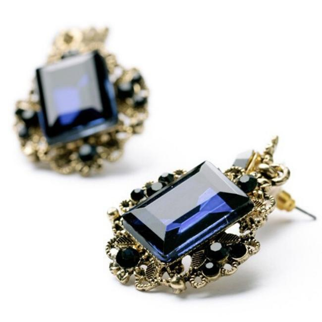 Blue and Gold Retro Vintage Square Geometric Crystal Post Stud Elegant Earrings Blue and Gold Retro Vintage Square Geometric Crystal Post Stud Elegant Earrings Image 1