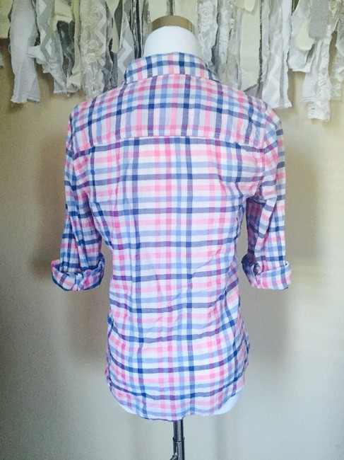 Hollister Button Down Shirt Pink And Blue And White