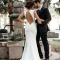 Noel and Jean Ivory White By Katie May Theo Low Back Crepe Mermaid Modern Wedding Dress Size 12 (L) Noel and Jean Ivory White By Katie May Theo Low Back Crepe Mermaid Modern Wedding Dress Size 12 (L) Image 2