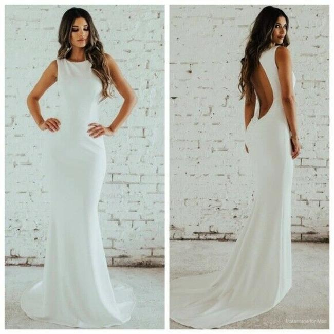 Noel and Jean Ivory White By Katie May Theo Low Back Crepe Mermaid Modern Wedding Dress Size 12 (L) Noel and Jean Ivory White By Katie May Theo Low Back Crepe Mermaid Modern Wedding Dress Size 12 (L) Image 1