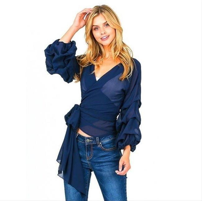Item - Navy Blue Wrap (Medium) Blouse Size 8 (M)