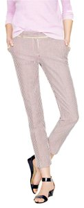J.Crew Seersucker Cafe Capri Capri/Cropped Pants cranberry/white stripe with neon trim