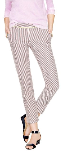 Item - Cranberry/White Stripe with Neon Trim Neon-tipped Cafe Pants Size Petite 12 (L)
