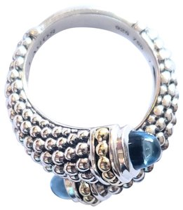 Lagos Lagos Sterling Silver & 18K Gold Signature Caviar Crossover Ring
