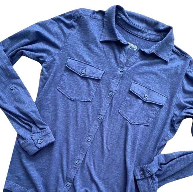 Item - Blue Easy Popover Long Sleeve Polo Shirt Activewear Top Size 4 (S)