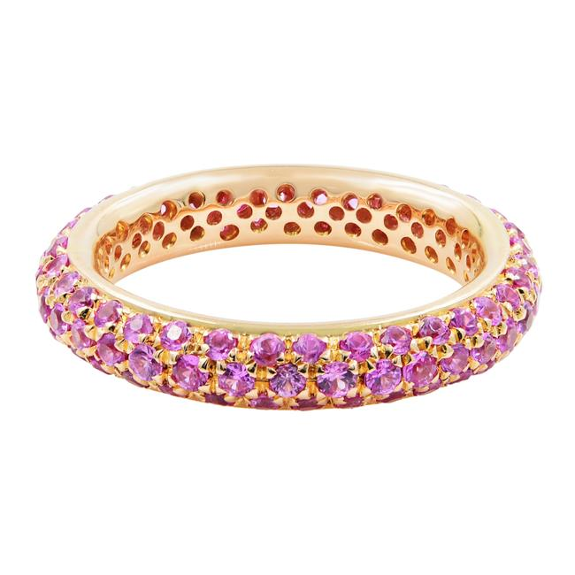 Item - 18k Yellow Gold Pave Pink Sapphire Ladies Size 6.5 Ring