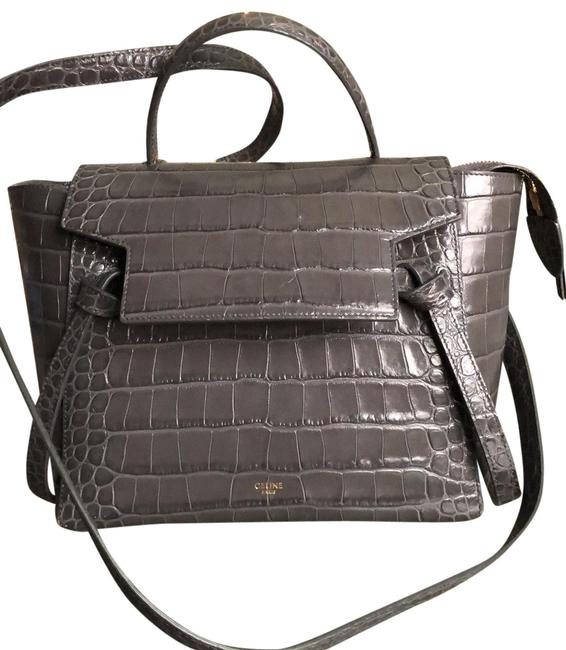 Item - Micro Gray Leather Tote