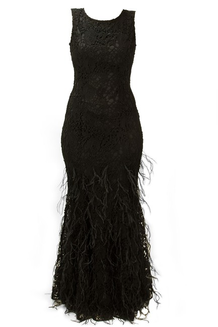 Item - Black Lace Feather Evening Gown Long Formal Dress Size 4 (S)