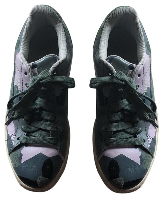 Item - Green Pink Grey and Black Suede Sneakers Size US 8 Regular (M, B)