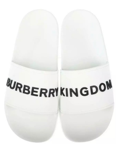 Burberry White New Ladies Raised Logo Kingdom Slides Beach 37 Sandals Size US 7 Regular (M, B) Burberry White New Ladies Raised Logo Kingdom Slides Beach 37 Sandals Size US 7 Regular (M, B) Image 1