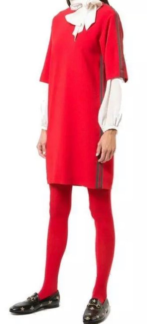Item - Red New Current Stretch Viscose Web Logo Stripes Tunic 44/10 Mid-length Short Casual Dress Size 10 (M)